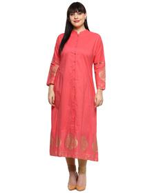 Love More Women Pink & Gold-Coloured Printed Straight Kurta