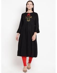 Love More Women Black Embroidered A-Line Kurta