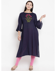 Love More Women Blue & Pink Embroidered A-Line Kurta