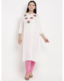 Love More Women White & Pink Embroidered A-Line Kurta