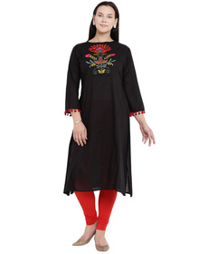 Love More Women Black Floral Embroidered A-Line Kurta