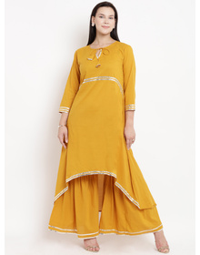 Love More Women Yellow Solid Kurta with Palazzos