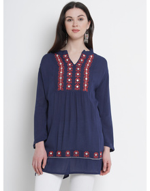 Love More Womens Navy Blue Embroidered A-Line Tunic