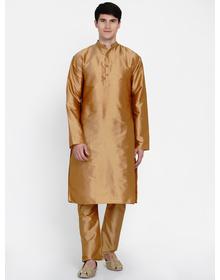 Baawara By Bhama Gold Solid Kurta with Gold Solid Pajama set