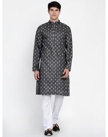 Baawara By Bhama Grey Self Printed Kurta With White Pajama set