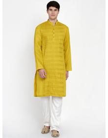 Baawara By Bhama Mustard Pintucks Kurta With Off White Pajama set