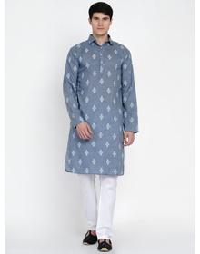 Baawara By Bhama Blue And White Printed Kurta Pajama set