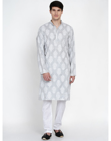 Baawara By Bhama Black And White Stripe Printed Kurta Pajama set