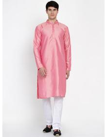 Baawara By Bhama Pink Kurta White Pajama With printed Jacket set