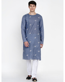 Baawara By Bhama Blue And White Embroidered Kurta Pajama set