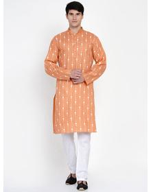 Baawara By Bhama Peach And White Kurta Pajama set