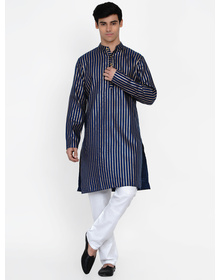 Baawara By Bhama blue stripe print kurta pajama set