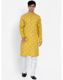 Baawara By Bhama mustard printed kurta pajama set
