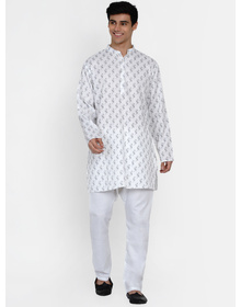 Baawara By Bhama white printed kurta pajama set