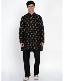 Baawara By Bhama black and gold printed kurta pajama set