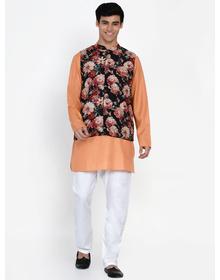 Baawara By Bhama Peach and floral printed kurta pajama with waistcoat set