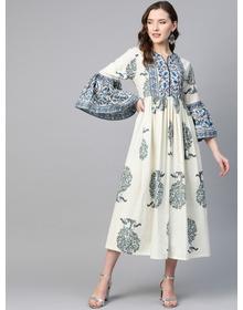 Women Off-White & Blue Printed Pure Cotton A-Line Dress