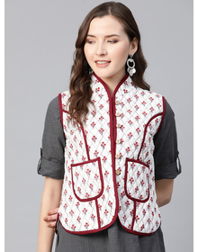 Women Off-White & Maroon Printed Lightweight Quilted Jacket