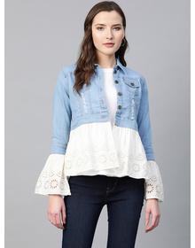 Women Blue Solid Lightweight Pure Cotton Denim Jacket