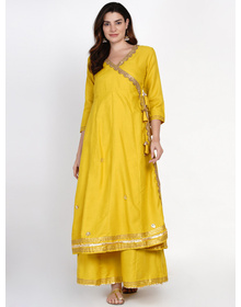 Women Mustard Yellow Floral Angrakha Kurta with Skirt