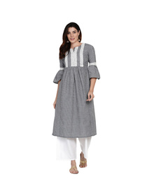Women Black Embroidered Kurta with Trousers