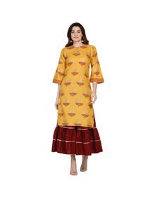 Women Mustard Yellow & Maroon Printed Kurta with Sharara