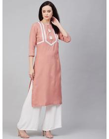 Women Peach-Coloured & White Yoke Design Kurta with Palazzos