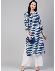 Women Blue & White Printed Cotton Kurta with Palazzos