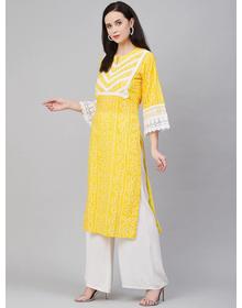 Women Yellow & White Embroidered Kurti with Palazzos
