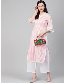 Women Pink & White Striped Kurti with Palazzos