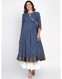 Women Blue Bandhani Printed Angrakha Kurta