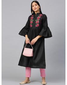 Women Black & Pink Floral Embroidered Yoke Design Straight Kurta