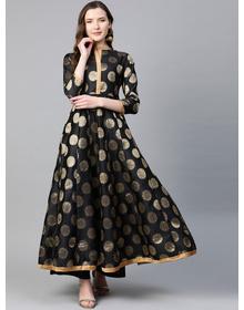 Women Black & Golden Pure Silk Jacquard Weave Woven Design Anarkali Kurta