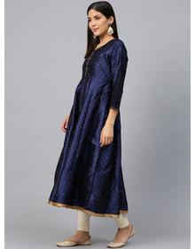 Women Navy Blue & Golden Woven Design Anarkali Kurta