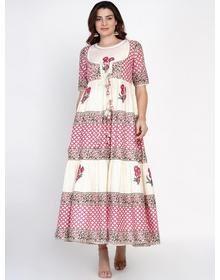 Women White & Pink Ethnic Motifs Printed Anarkali Kurta