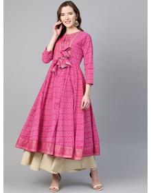 Women Pink & White Bandhani Print Anarkali Kurta
