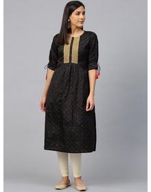 Women Black & Red Woven Design Straight Kurta