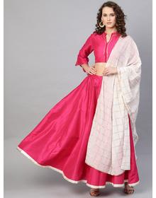 Pink Solid Lehanga Choli With Dupatta