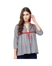 Women Grey Solid Tie-Up Shrug