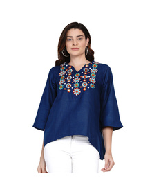 Navy Blue & White Floral Embroidered A-Line Top