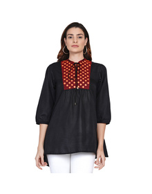 Black Tunic with Embroidered Yoke