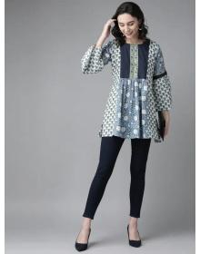 Women Off-White & Blue Printed Tunic