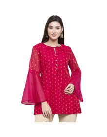 Women Pink & Golden Woven Design Tunic