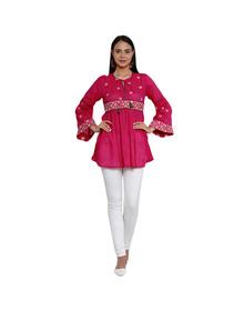 Fuchsia Pink Embroidered Tunic