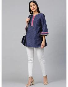 Navy Blue & Golden Woven Design Silk A-Line Kurti