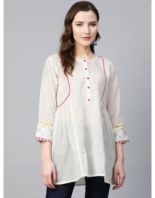 Women White Solid A-LineTunic