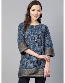 Women Navy Blue & White Bandhani Print Tunic