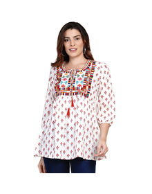 White Printed Tunic with Embroidered Yoke