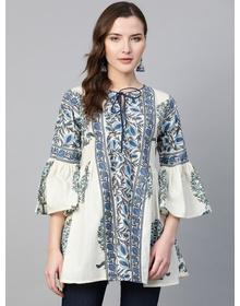 Women White & Blue Yoke Design Tunic