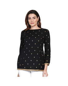 Black Embroidered Tunic with Zari Detail